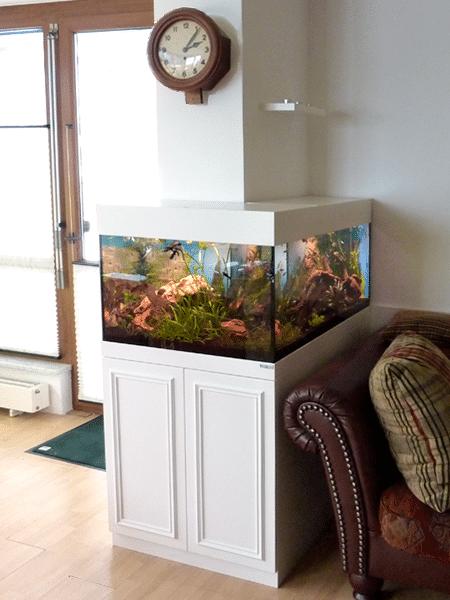 Aquariumschrank in L Form Lack weiss