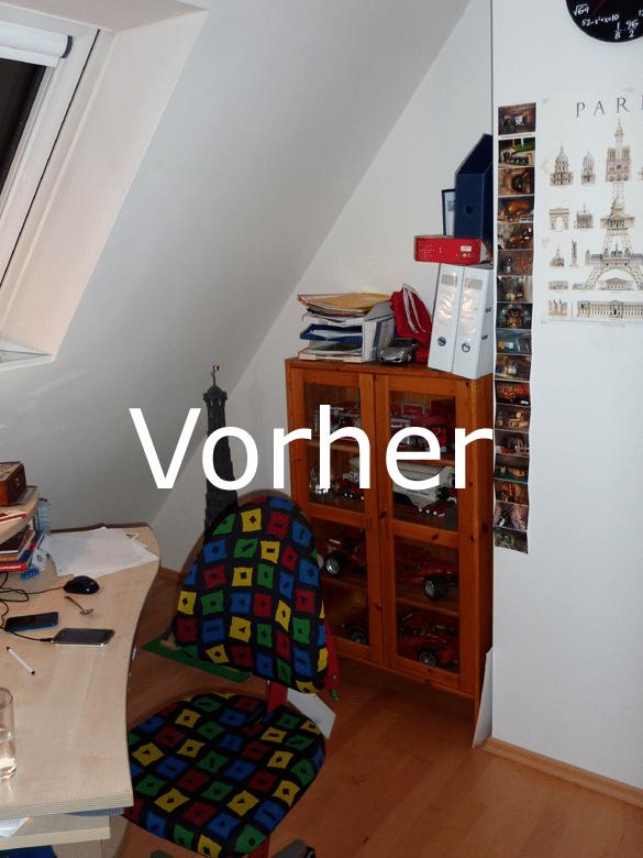 Jugendzimmer Dachschraege Herzogenaurach Wand gegenueber vorher