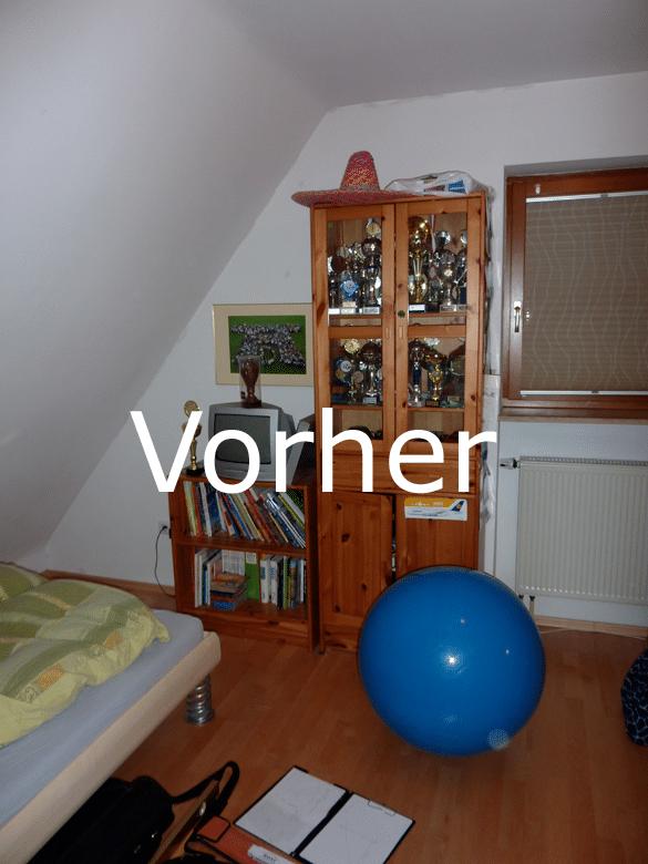 Jugendzimmer Dachschraege Herzogenaurach vorher