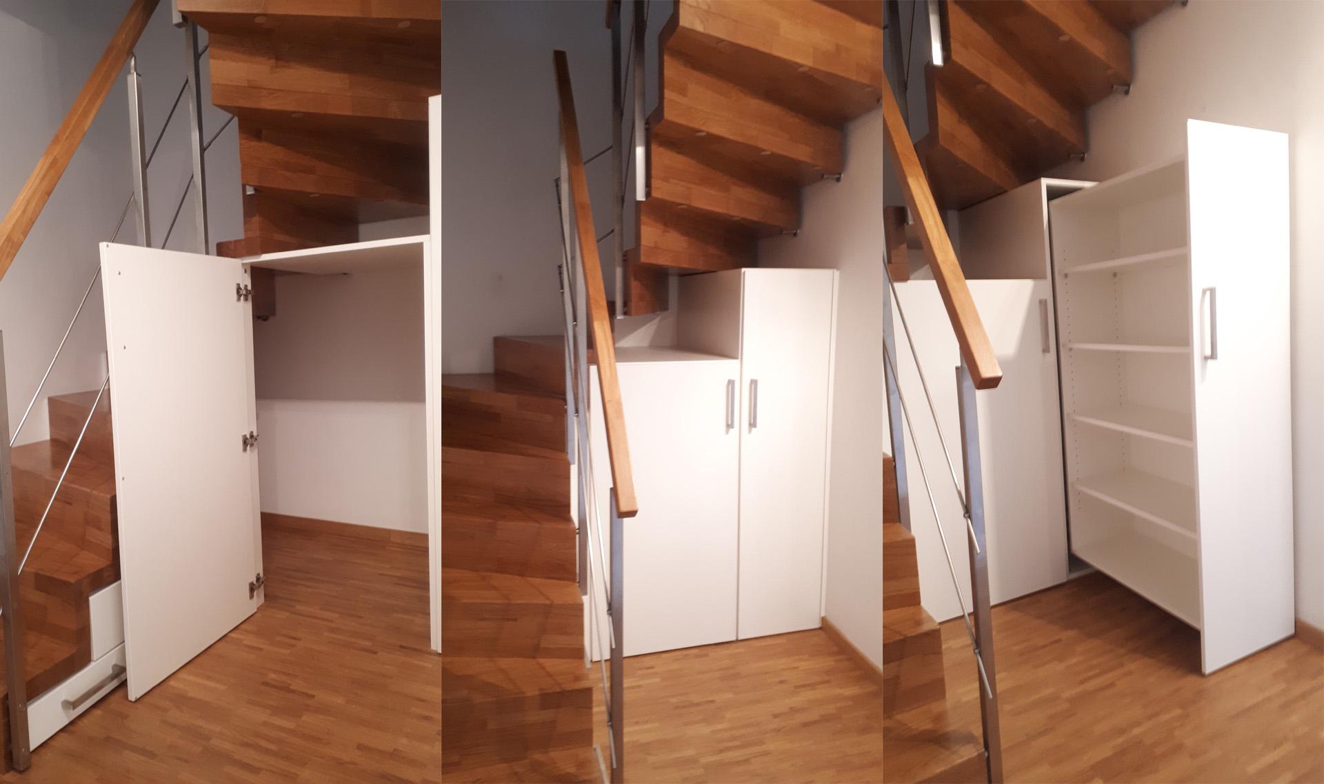 Schrank Apothekerauszug unter der Treppe vom Schreiner