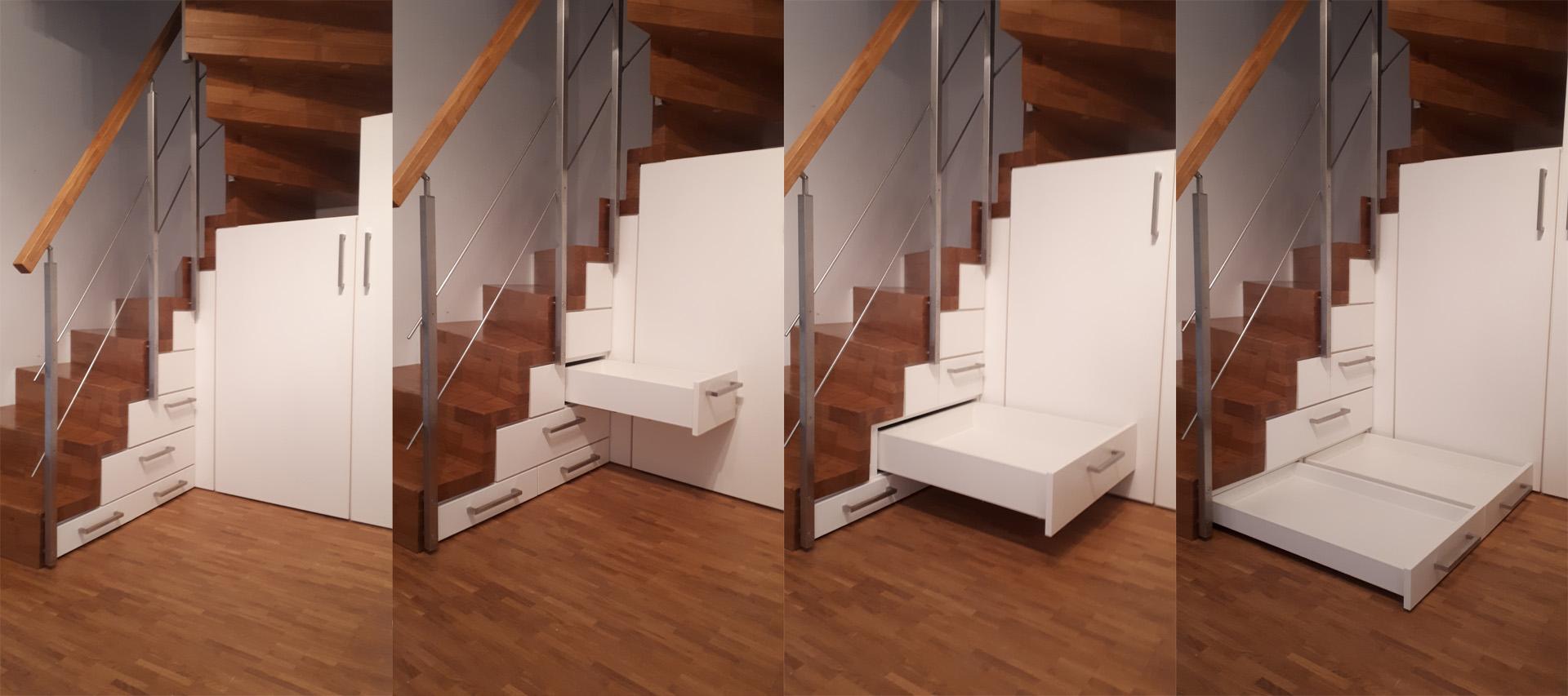 Schrank Schubkaesten unter der Treppe vom Schreiner